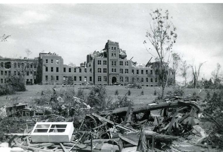 Damage-at-Assumption-College-now-Quinsigamond-Community-College,-June-1953,-Worcester-MA.-From-the-Collections-of-Worcester-Historical-Museum.